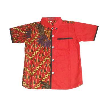 Welans Batik LP07 Hem Motif Kemeja Anak Laki-laki - Merah