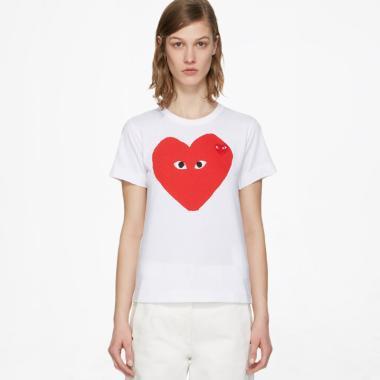 Comme des Garçons Play Camo Heart Tshirt Wanita - White