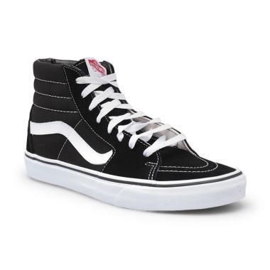 Vans U Sepatu Pria - Black White  SK8-HI  4a2c12e07e