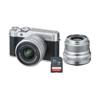 harga FUJISHOPid - Fujifilm PWP Fujinon XF 23mm f2 + Fujifilm X-A20 Kit XC 15-45mm Kamera Mirrorless - Silver + Free Sandisk Ultra Kartu Memori 16 GB Blibli.com