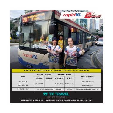 TX Travel - Rapid KL Shuttle Bus Sepang MotoGP 2019 [SIC/ KLIA-2/ KLIA-1]