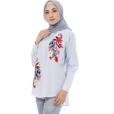 Zahra Signature Stripe Shirt Embro Flower Anissa Atasan Muslim Wanita
