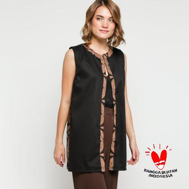 Gesyal Cardigan Tunik Panjang Motif Batik Keraton Vest Outer Atasan Wanita Hitam
