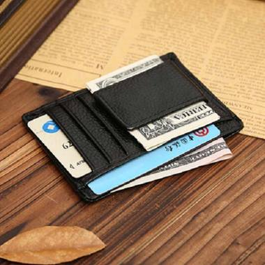 harga Bluelans Men Faux Cowhide Leather Money Clip Wallet Credit Card ID Holder Business Pocket Black Blibli.com
