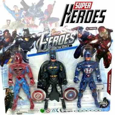 MAINAN ACTION FIGURE SUPER HEROES ISI 3 PCS BERKUALITAS / ACTION FIGURE ROBOT / ACTION FIGURE AVENGERS / ACTION FIGURE BATMAN / ACTION FIGURE SPIDERMA
