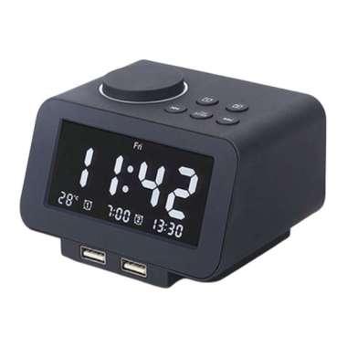 harga Digital  Clock Radio Alarm Snooze Timer Temperature Clock Dual USB Charger Black Blibli.com