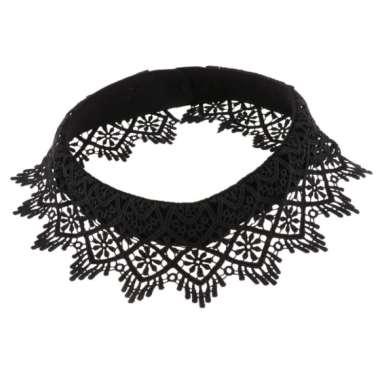 harga Lady Detachable Hollow Lace Fake Collar False Collar Detachable Shirt Blouse Black Blibli.com