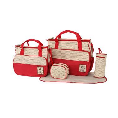 New 5 in 1 Multifunctional Baby Bag Diaper Bag - Red