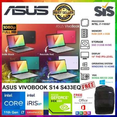 harga ASUS S14 S433EQ-EB751/752/753/754TS - i7-1165G7 - 8GB - 512GB SSD - MX350 2GB - Backlit KB - Fingerprint - 14