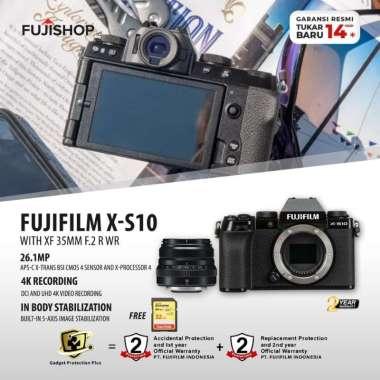 harga FUJISHOPid Fujifilm XS10 X-S10 Body with XF 35mm F2 R WR Fuji XS10 Kamera Mirrorless + Sandisk 32 GB GARANSI RESMI black Blibli.com