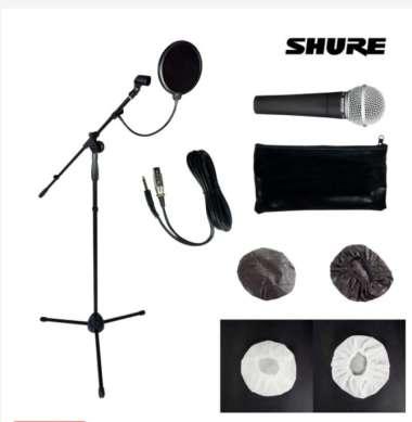 harga Microphone Kabel Shure SM58 + Stand Mic + Pop Filter + Mikrofon Cover 4 PCS Blibli.com