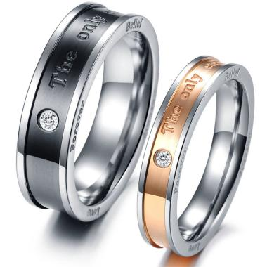 CDHJewelry CC005 Cincin Couple Titanium Anti Karat (Female 7 & Male 7)