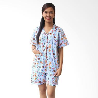 Aily SL010 Setelan Baju Tidur Piyama Wanita Celana Pendek - Merah