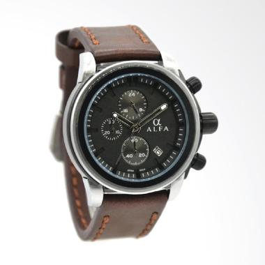 Alfa Leather Strap Coklat Ring Silv ... gan Pria - Hitam 33016MSB