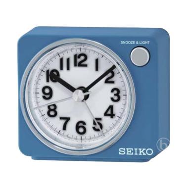 SEIKO QHE100L Quiet Sweep LED Flash Beep Alarm Clock Blue - Jam Weker