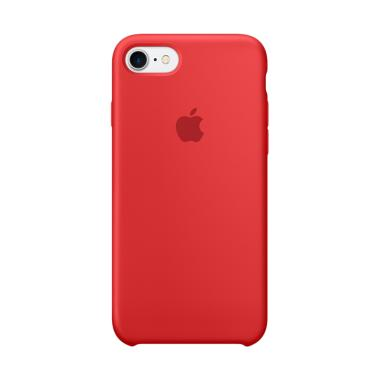 Apple Silicon Cover Casing for iPhone 7-RED