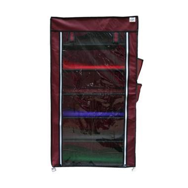 Nine box Transparan Rak Sepatu - Maroon [7 Cover/6 Tingkat]