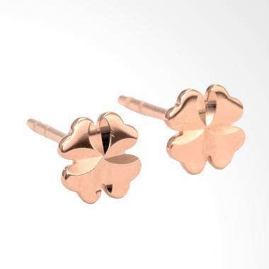 Tiaria Clover D3 Earring Anting Emas Perhiasan - Rose Gold