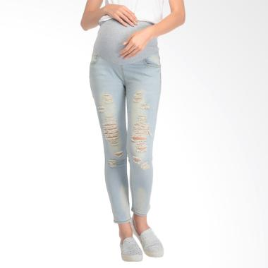 Mooimom Skinny Maternity Jeans With ...  Panjang Ibu Hamil - Blue