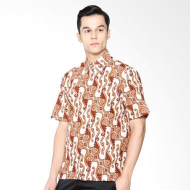 Batik Distro K8095 Kemeja Pria Motif Besar Pendek - Coklat
