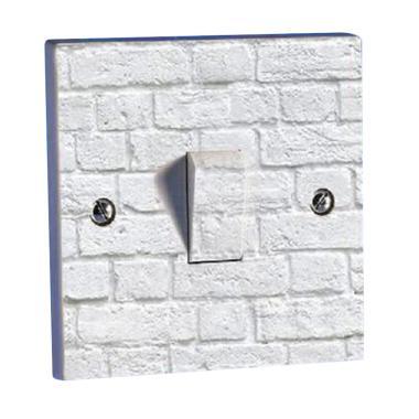 OEM Motif Batu Bata Putih Saklar Lampu Sticker