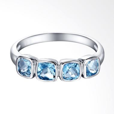 Tiaria 9K Queen Blue Topaz White Gold Perhiasan Emas Cincin