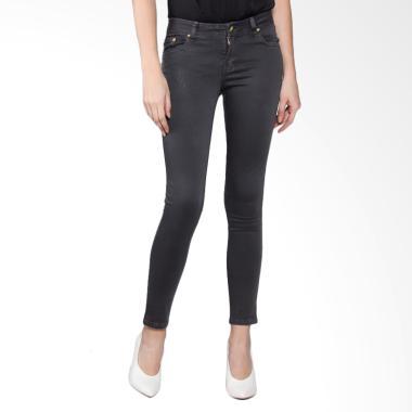 Bronco 2228 Slim Fit Chinos Celana Wanita - Charcoal Grey