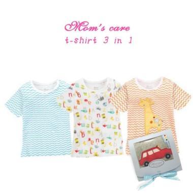 Moms Care T-shirt Pendek 3in1 Boy Giraffe 6m Pakaian Anak Laki Laki