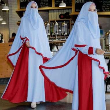 Jual set gamis syari blue gamis polos syar'i hijab niqob abaya FREE cadar Berkualitas