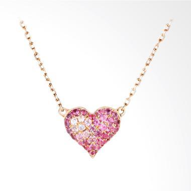 Tiaria 18K Tourmaline Sweet Heart Perhiasan Emas Kalung Wanita