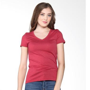 Giordano V-neck Jersey tee Melange Signature Atasan Wanita - Red