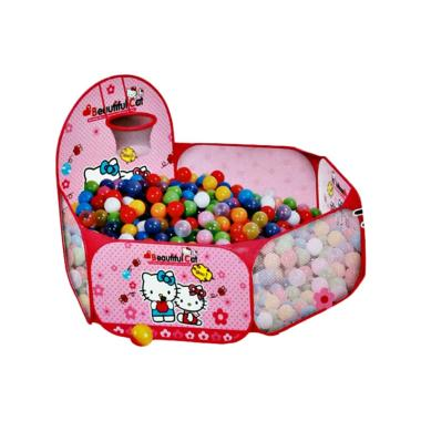 MAO Hello Kitty Ball Pit Tenda Mandi Bola Mainan Anak - Pink Flower