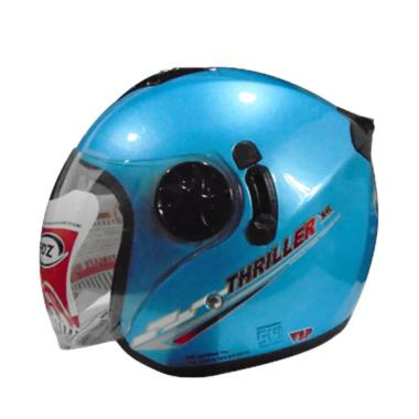 FOZ Thriller Solid Helm Half Face - Ice Blue