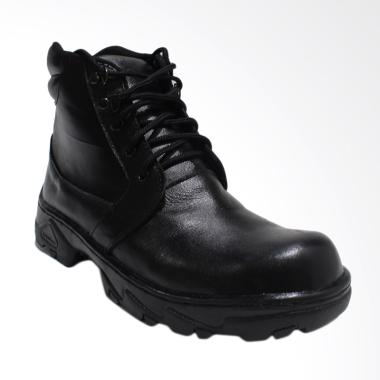 Black Shoes Sepatu Safety Boot Kulit Pria - Hitam A8