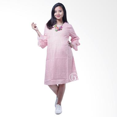 Mama Hamil DRO 851 Kotak Layer Nagita Dress Baju Hamil - Pink