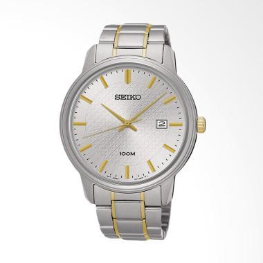 Seiko Quartz Stainless Steel Bracelet Jam Tangan Pria - Silver Gold SUR197P1 -