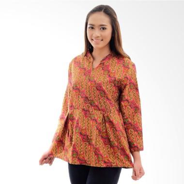 CANNICE Katun Cap Daun Atasan Kemeja Batik Wanita - Merah Bata