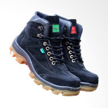 Kickers Safety Suede Sepatu Boots Pria - Black