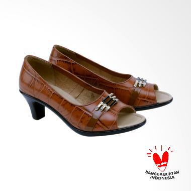 Garsel GEM 5006 Mid Low Heels Wanita - Coklat