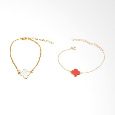 Spicegift Bunga Merah Putih Lapis Emas Gelang [2 pcs]
