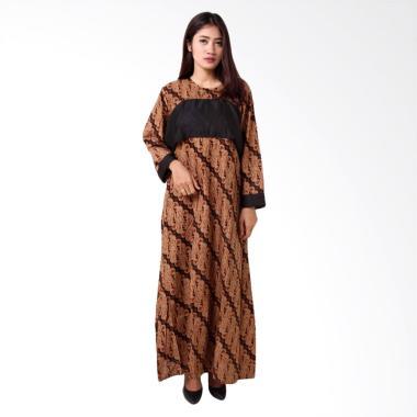 Batik Distro BA8762 Lengan Panjang Gamis Wanita - Coklat