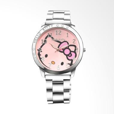 Hello Kitty WAT1087F Cartoon Full Steel Watch Ladies Jam Tangan - Pink