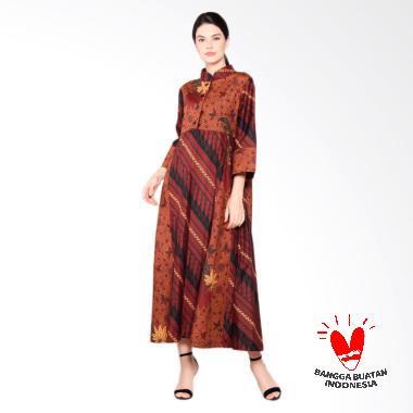 MORETOSEE Gamis Pecah Pola Dress Batik - Coklat