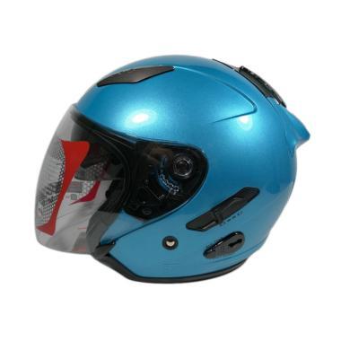 harga KYT Galaxy Slide Solid Double Visor Helm Half Face - Ice Blue Blibli.com