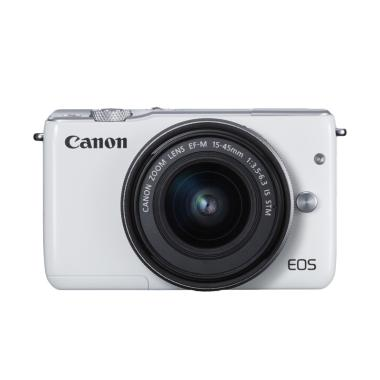 Canon EOS M100 Kamera DSLR with Lensa EF-M15-45mm - White