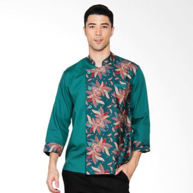 Chef Series Garnet Batik Tangan Panjang Baju Koki - Hijau [Size M]