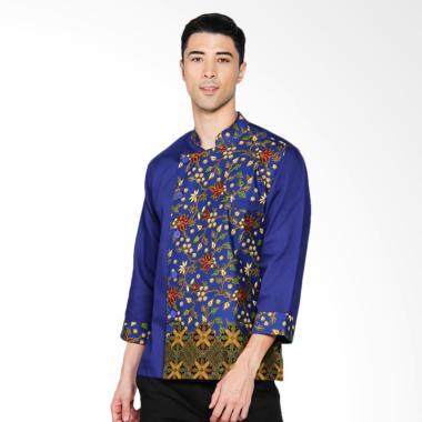 Chef Series Topaz Batik Tangan Panjang Baju Koki - Biru [Size S]