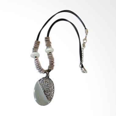 Robagin Pw74 Batu Putih Silver Kalung Choker Wanita