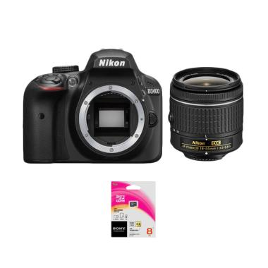 Nikon D3400 Body + Lensa AF-P 18-55mm non VR + Memory Sony 8GB