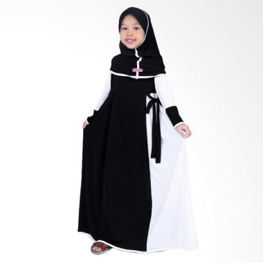 BajuYuli Baju Muslim Gamis Anak Perempuan - Hitam Putih